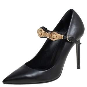 حذاء كعب عالي فيرساتشي جلد أسود مزخرف ميدوسا ماري جان مقاس 37