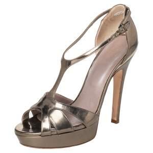 Versace Gold Patent Leather T-Strap Platform Sandals Size 39