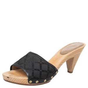 Versace Black Fabric And Leather Clog Slide Sandals Size 39