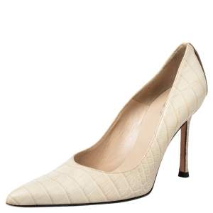 Versace Beige Croc Embossed Leather Pointed Toe Pumps Size 36