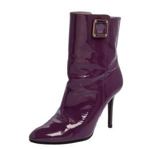 Versace Purple Patent Leather Medusa Ankle Boots Size 38.5