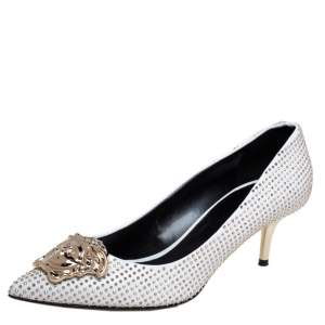 Versace White/Gold Leather Studded Medusa Pumps Size 39