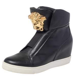 Versace Black Leather Palazzo Medusa Wedge High Top Sneakers Size 39