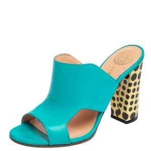 Versace Blue Leather Open Toe Mule Sandals Size 38