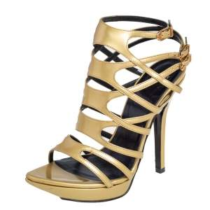 Versace Metallic Gold Patent Leather Gladiator Sandals Size 38