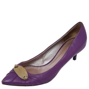 Versace Purple Leather Pointed Toe Pumps Size 41