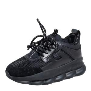 Versace Black Leather and Mesh Chain Reaction Sneakers Size 38