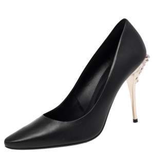 Versace Black Leather Medusa Heel Pumps Size 40