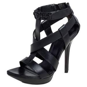 Versace Black Leather T Strappy  Platform Sandals Size 37.5