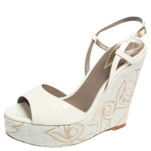 Versace White Patent Leather Quilted Wedge Platform Sandals Size 40