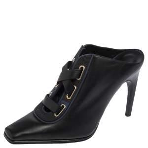 Versace Black And Rubber Trim Square Toe Mules Size 40