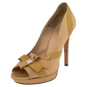 Versace Beige/Yellow Leather And Canvas  Bow Peep Toe  Pumps Size 39