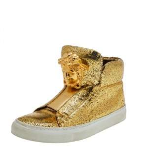 Versace Metallic Gold Crackle Leather Medusa High Top Sneakers Size 35.5