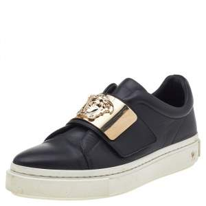 Versace Black Leather Medusa Embellished Velcro Strap Low Top Sneakers Size 37