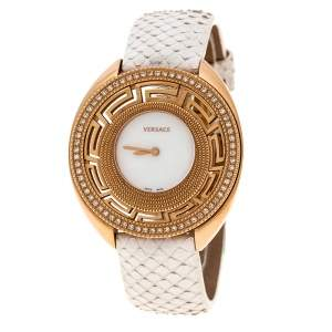 Versace White Mother of Pearl Gold Tone Diamond 67Q Women's Wristwatch 39 mm