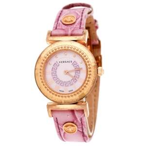 Versace Purple Gold Tone Stainless Steel Vanity P5Q Women's Wristwatch 35 mm