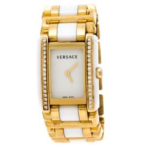 Versace White Ceramic Gold Stainless Steel Diamonds Era 70Q Women's Wristwatch 24 mm