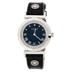 Versace Black Stainless Steel Vanity P5Q Women's Wristwatch 35 mm
