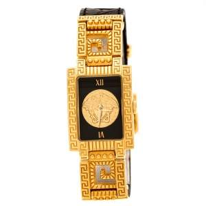 Gianni Versace Black Gold Plated Signature Medusa 7009017 Women's Wristwatch 20 mm