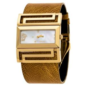 Versace Mother of Pearl Gold Plated Stainless Steel Leather Beauville VSQ90 Women's Wristwatch 38 mm