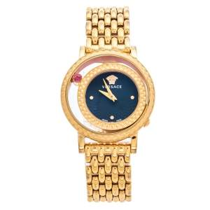 Versace Black Rose Gold Plated Stainless Steel Venus VDA040014 Women's Wristwatch 33 mm