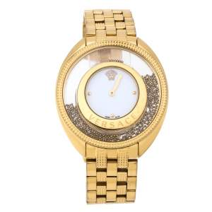 Versace White Gold Tone Stainless Steel Destiny Spirit 86Q Women's Wristwatch 39 mm