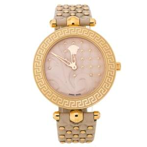 Versace Beige Rose Gold Plated Stainless Steel Vanitas VK7 Women's Wristwatch 40 mm