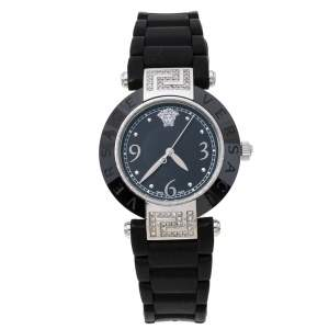 Versace Black Ceramic and Stainless Steel Diamond Reve 92Q Women's Wristwatch 35 mm