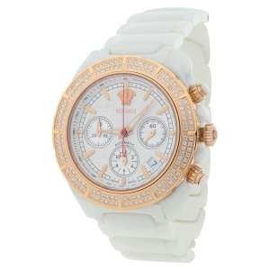 Versace White Ceramic Rose Gold Plated Stainless Steel Diamond DV One 11CC Unisex Wristwatch 40 mm