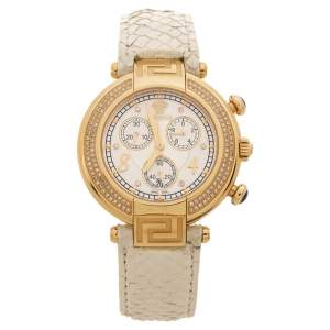 Versace White Mother of Pearl Gold Plated Steel Diamond Python Leather Reve 68C Women's Wristwatch 40 mm