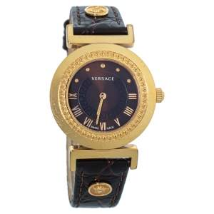 Versace Brown Gold Plated Stainless Steel & Leather Vanity P5Q Women's Wristwatch 35 mm