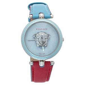 Versace Blue Stainless Steel & Leather Palazzo VCO 070017 Women's Wristwatch 37mm