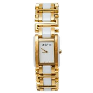 Versace White Gold Plated Stainless Steel Ceramic Era 70Q Women's Wristwatch 25 mm