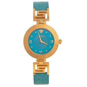 Versace Blue Gold Plated Stainless Steel Leather V-Signature VLA Women's Wristwatch 35 mm