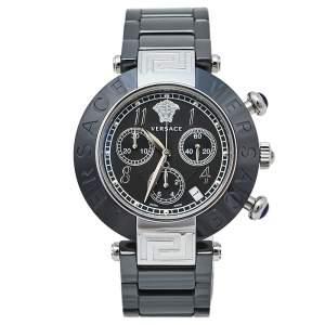 ساعة يد نسائية فيرساتشى Reve 95C ستانلس ستيل وكريمى أسود مقاس 40 مم