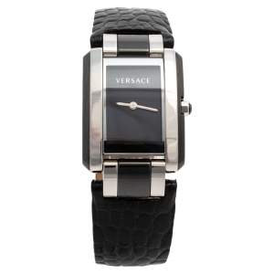 Versace Black Stainless Steel & Ceramic Leather Era 70Q Women's Wristwatch 24 mm