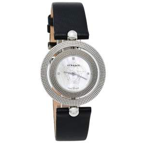 Versace Mother Of Pearl Stainless Steel Leather Eon 79Q Women's Wristwatch 34 mm