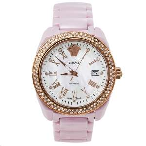 Versace Mother of Pearl Ceramic & Rose Gold Plated Stainless Steel Diamond DV One 01ACP51 Women's Wristwatch 41 mm