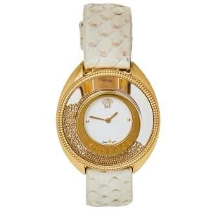 Versace White Gold Plated Stainless Steel Python Leather Destiny Spirit 86Q Women's Wristwatch 39 mm
