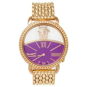 ساعة يد نسائية فيرساتشي كريوس 93كيو ستانلس ستيل مطلي ذهب بنفسجية 38 مم
