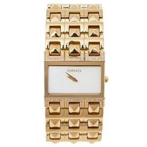 ساعة يد نسائية فيرساتشي كليوبترا 85كيو ستانلس ستيل مطلي ذهب صدف 33 مم