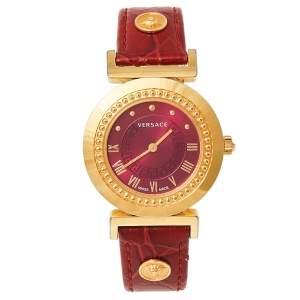 ساعة يد نسائية فيرساتشي فانيتي P5Q جلد وستانلس ستيل مطلي ذهبي وردي 35 مم