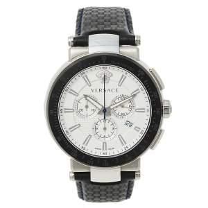 ساعة يد رجالية فيرساتشي ميستيك VFG01 0013 ستانلس ستيل جلد بيضاء 46مم