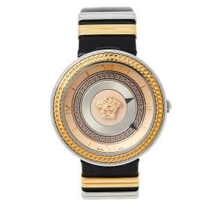 ساعة يد نسائية فيرساتشي في ميتال أيكون VLC100014 ستانلس ستيل ثنائية اللون ذهبي وردي 40مم