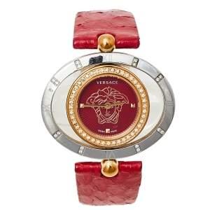 ساعة يد نسائية فيرساتشي أيون أليبسيس 91Q  ستانلس ستيل ثنائي اللون جلد حمراء 32 مم × 40 مم