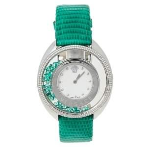 ساعة يد نسائية فيرساتشي ديستني بريشيوس 86Q ستانلس ستيل جلد سحلية صدف 40 مم