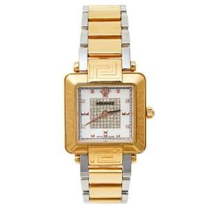 ساعة يد نسائية فيرساتشي ريف كار 88 Q ستانلس ستيل ثنائي اللون وألماس وصدف 30 مم