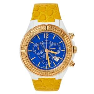 Versace Blue Ceramic & Gold Tone Stainless Steel Leather DV One 28C Women's Wristwatch 42 mm