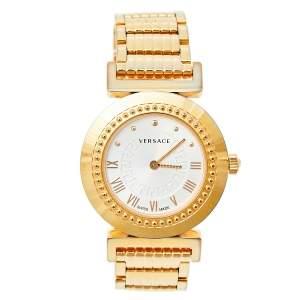ساعة يد نسائيو فيرساتشي فانيتي P5Q ستانلس ستيل مطلي بالذهب الأصفر بيضاء أوبلين 35 مم