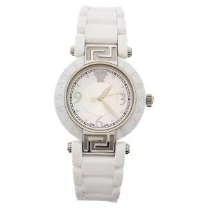 Versace White Mother Of Pearl White Ceramic Stainless Steel Rubber Reve 92Q Women's Wristwatch 35 mm